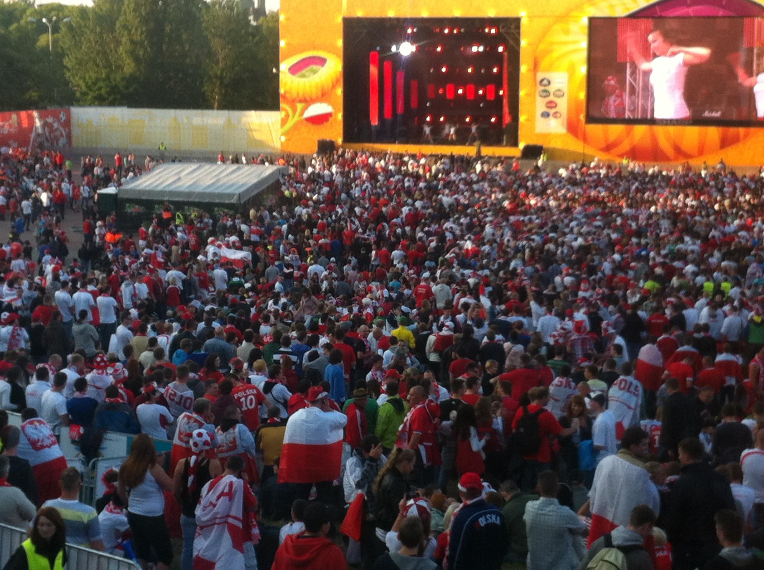 Euro2012 mecz Polska - Rosja Gdansk Strefa Kibica Fan Zone w Gdańsku