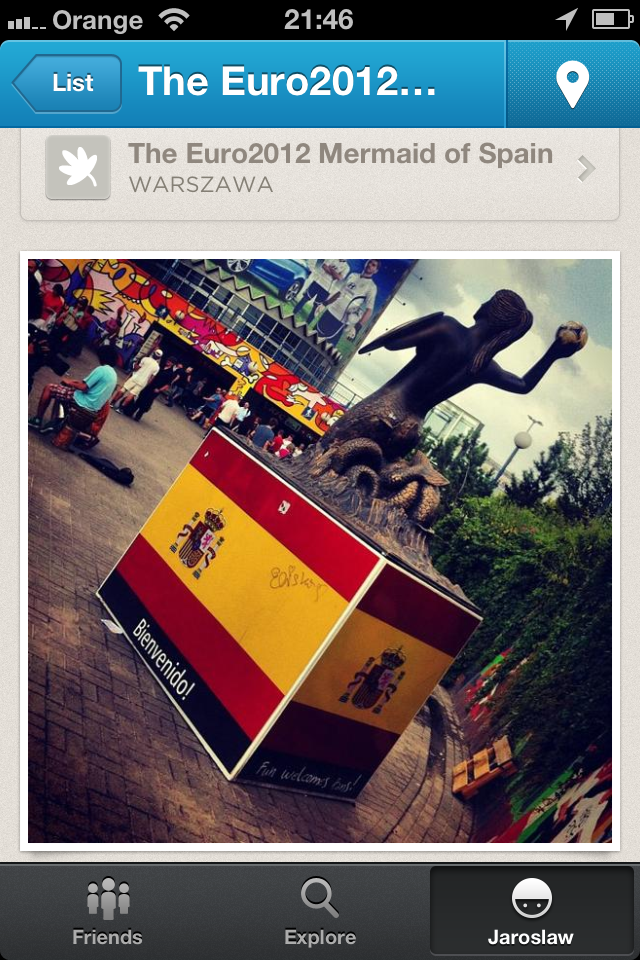 przewodnik lista Warszawska Syrenka Foursqaure smartfonie iPhone