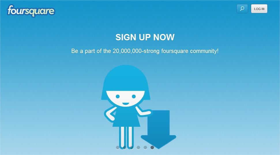 Załóż konto na Foursquare - społecznościowym serwisie opartym na geolokalizacji i grywalizacja